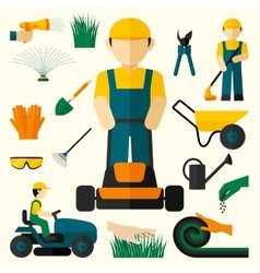 Man With Lawn Mower vector