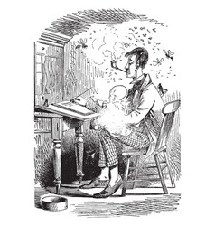 Man writing letter with child or man smoking a vector