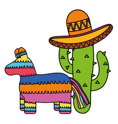 Mexican pinata with cactus and hat vector