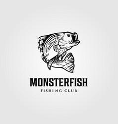 monster fish silhouette logo template design vector image