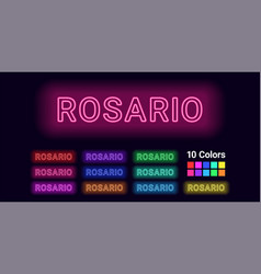 Neon name of rosario city vector