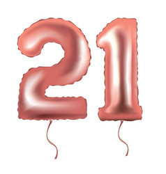 Number 21 foil balloon vector