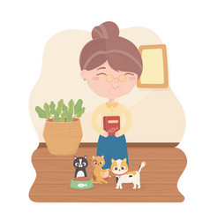Old woman with package animal feed for her waiting vector