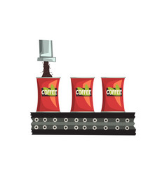 packaging of coffee automated belt conveyor vector image