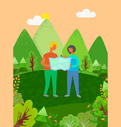 People looking at map finding their way in forest vector