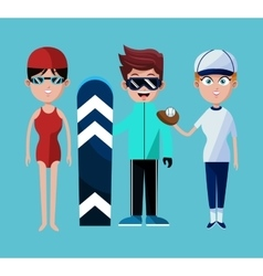 People sport swimming skiing baseball with uniform vector