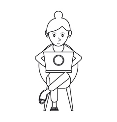Pictogram beutiful girl using laptop sitting vector