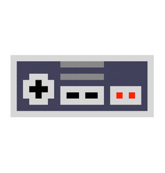 Pixel art game pad contorller cartoon retro game vector