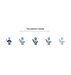 Policeman figure icon in different style two vector
