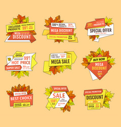 Promo tags templates set special autumn discounts vector