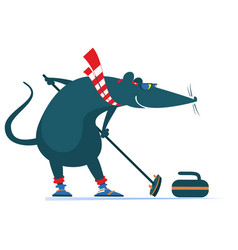 Rat or mouse plays curling vector