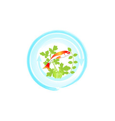 Red fish in blue circle aquaponics system vector
