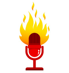 Red microphone with fire vector