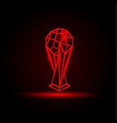 red neon soccer cup on a black background vector image