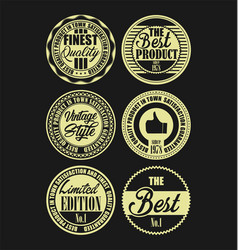 retro vintage labels simple beige and black on vector image