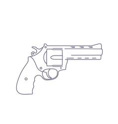 Revolver gun isolated on white line vector