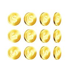 Rotation metallic gold coin golden dollar vector