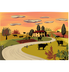 Rural landscape with grazing cows vector