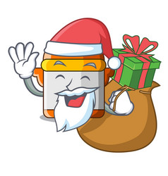 Santa with gift electric pressure cooker isolated vector