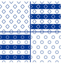 seamless geometric patterns in marine style vector image