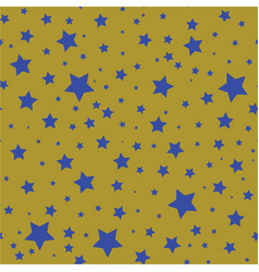 seamless pattern with blue stars on a olive gold vector image