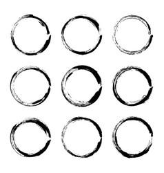 set hand drawn circle frame vector image