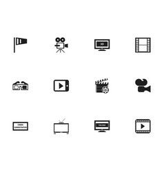 set of 12 editable cinema icons includes symbols vector image