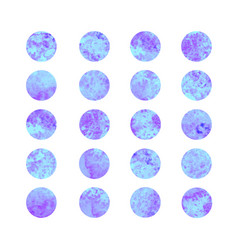 set of blue watercolor dots vector image