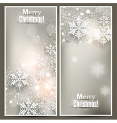 Set of Elegant Christmas banners with snowflakes vector