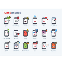 set of smile phones with different emotions vector image