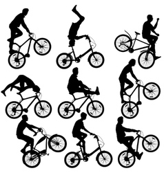 Set silhouette of a cyclist male and female vector image
