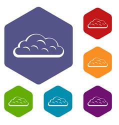 Snow cloud icons set hexagon vector