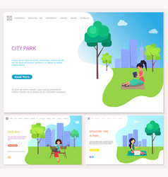 Spending time in city park with free wifi vector
