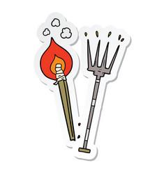 Sticker of a cartoon pitchfork and burning brand vector