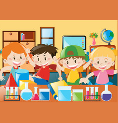 Students study in the classroom vector