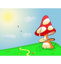 Summer landscape mushroom on green field vector