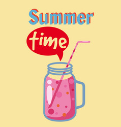 summer time template jar with smoothie in bright vector image