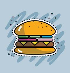 tasty and fresh hamburger fast food vector image