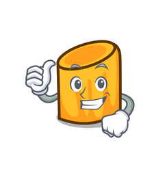 Thumbs up rigatoni character cartoon style vector