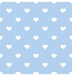 Tile pattern with hand drawn white hearts on blue vector