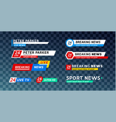 tv news third lower bar banner for broadcast sport vector image