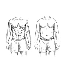 Two men bodies fit and fat ink sketch vector