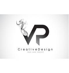 Vp letter logo design with black smoke vector