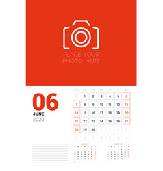 wall calendar planner template for 2020 year june vector image