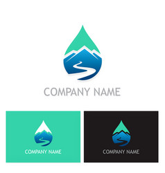 Water drop mountain logo vector