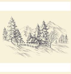 Winter landscape mountains view vector