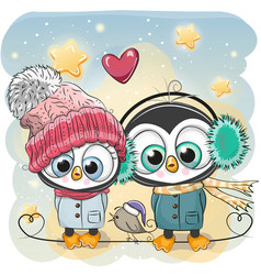 Winter penguin boy and girl in hats and coats vector