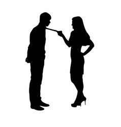 Woman holding man by tie silhouette vector