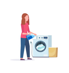 woman pouring powder gel into washing machine vector image
