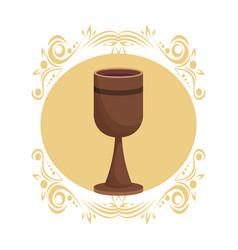 Wooden chalice wine vector